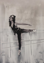(vglyvgly) Tags: portrait ballet white black dance ballerina paint contemporary dancer overpainting