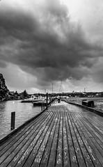 Boardwalk (Photography By Robert Young) Tags: sea blackandwhite bw cloud seascape storm norway landscape boats nikon sigma boardwalk fjord yachts thursday haugesund 2470mm
