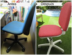 Before & later chair (Lolo & Olé! (Inma)) Tags: diy silla dots reciclar lunares upcycled tapizar picmonkey:app=editor