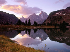 Lake Soiitude Sunrise (AlexBurke) Tags: park lake reflection mamiya sunrise solitude grand velvia national wyoming teton tetons