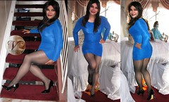 Triple Threat Tuesday (Veronica Mendes (2013)) Tags: blue cute sexy tv high long pumps dress transformation legs little cd adorable makeup tights skirt crossdressing veronica tgirl transgender wig transvestite heels hosiery ecstasy lipstick euphoria lovely stiletto mendes transgendered miniskirt pantyhose crossdresser ts tg lbd sheer minidress mtf travesti pointytoe transgirl rouched transwoman bodycon veronicamendes