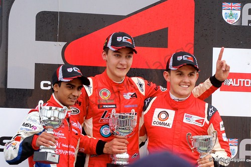 George Russell, Raoul Hyman and Charlie Eastwood on the podium for BRDC F4 at Snetterton, October 2014