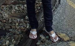 4 (feettorrent) Tags: white outdoors nail polish flipflops pedicure aldo toering footfetish anklet footworship toesuck toelick footlick womenworship footfetishattitude