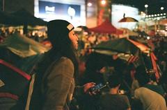 Lady in Umbrella Revolution (Gerard0804) Tags: street leica film umbrella movement shoot fuji superia iso 1600 hong kong f2 40mm m6 2014 fujicolor summicronc leitz umbrellarevolution