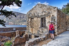 Joey in front of our new house. (Cybergabi) Tags: vacation ruins joey crete 2014 5f spinalongaisland agiosniklaos