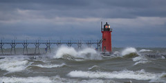 Storms at South Haven (www.22NorthPhotography.com) Tags: sea panorama lighthouse storm haven art photography lighthouses michigan south wrap stormy canvas photograph waters seas www22northphotographycom 22northphotography