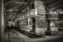 In the tramsheds (Dave2638) Tags: monochrome museum derbyshire transport tram historic crich tramsheds