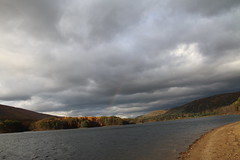 the storm, the colors, the rainbow (bbosica20) Tags: blue trees red sky orange mountain lake fall nature beautiful yellow clouds canon landscape rainbow october rocks skies fallcolor fallcolors gray maryland westernmaryland lakehabeeb canon70d october2014