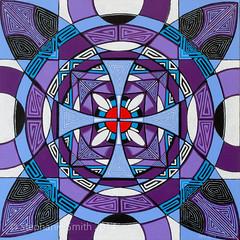 "IMG_2638 (Stephanie ""Biffybeans"" Smith) Tags: blue red art painting artist purple geometry vibrant modernart mandala selftaught sacred meditation spirituality psychedelic lehighvalley visionary stephaniesmith transformational sacredart sacredgeometry visionaryartist personalgrowth bananafactory biffybeans"