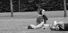 Breeze (ontheheath) Tags: park ireland blackandwhite galway hair afternoon wind w young breeze youngwoman eyresquare