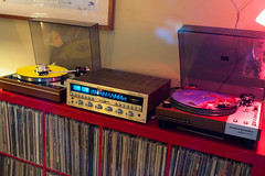 The vintage hi-fi installation... (DjD-567) Tags: yellow vintage vinyl turntable recordplayer electronics rush sound amplifier audio receiver hifi thorens picturedisc marantz hemispheres 6300 velvetundergroundnico 2285 td160 beltdriven woodplinth