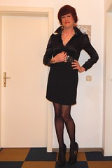Lady in black 3 (Rikky_Satin) Tags: leather pencil fur pumps highheels dress coat silk skirt blouse tgirl transgender gloves transvestite faux cleavage satin pantyhose crossdresser