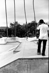 Oh Shit Moment... (edwardconde) Tags: california film beach santabarbara 35mm coast skateboarding rangefinder skaters skatepark skateboard skateboarders moviefilm ipad yashicaelectro35gs iso250 photogene cinestill kodak5222 skaterspoint bwxx editedontheipad edwardconde73 photographersontumblr