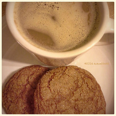 (ilovecoffeeyesido) Tags: food cookies drink cellphone squareformat mobilephone gingersnaps foodanddrink chailatte homemadecookies homemadegingersnaps samsunggalaxyvictory