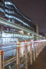 Steel (Elysian-Photography) Tags: city longexposure bus london wet rain architecture night cityscape holborn bollards chancerylane lighttrail londonist longshutterspeed unusualviewsperspectives london2014