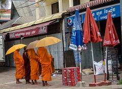 Open umbrella - closed umbrella (Udri) Tags: orange standing umbrella asia cambodia monks siemreap naranja paraguas monjes camboya depie