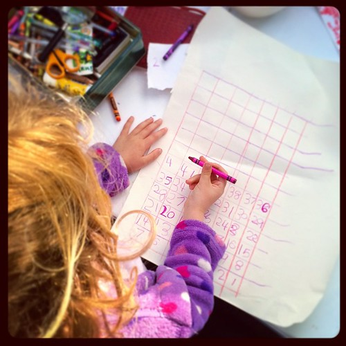 """154/365 • """"How many days 'til my birthday? Let's make a map!"""" • #154_2015 #4yo #83days #writing #maths #learning #Winter2015 #homeschool #unschool"""