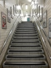 Empty London Tube stairs. (NorSob) Tags: london liverpoolstreet rushhour tube underground city stairs white smartphone