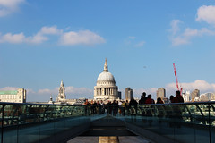 St. Pauls. (Billy Court Photography) Tags: st pauls catherdral london england bridge sky thames religion architecture people busy autumn shadows