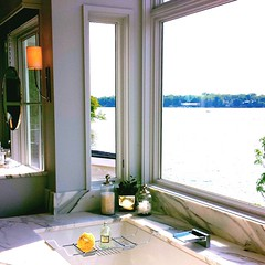 Bath and View (Trenton Hartley) Tags: rooms indoor indoors interior interiors design architecture architectural house home residential bath bathing bathe shower marble marbled modern contemporary soap soaps relax relaxing relaxation spa salt salts clean window windows glass view vista lake ocean river sea water shore tree trees light lights lighting beautiful pretty