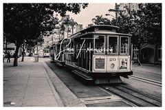 San Francisco Cable Car (FOXTROT|ROMEO) Tags: sanfrancisco cablecar bahn sbahn strasenbahn eisenbahn ca cali california blackwhite schwarzweis poster text font san fran frisco postcard
