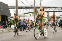 The Forest Queen (Craig Damlo) Tags: fremont fremontsolsticeparade seattle wa nude sal2470z niksoftware bike antlers girl