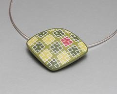 Pendant Olive-Green Diamonds (ST-Art-Clay) Tags: silkscreen moiko polymer clay