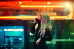 Quartier Chinois (Jon Siegel) Tags: nikon nikkor d810 85mm 14 nikon85mmf14 85mmf14 woman girl beautiful blonde neon night adventure sleepwalking daydreaming glowing orange green blue people chinese chinatown singapore singaporean