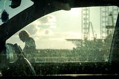 Dundee Oil Rigs (B Hutchison) Tags: xt1 dundee oilrigs waterfront car window through person mirror steeringwheel sunny sun