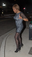 Wait! Don't! (kaceycd) Tags: crossdress tg tgirl lycra spandex seethru seethrough mesh minidress pantyhose boots ankleboots booties sexybooties lacebooties stilettoboots highheels stilettos s