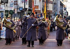 Remembrance Sunday parade, Canterbury, 13 Nov 2016 (chrisjohnbeckett) Tags: walking military brassband march marching group canterbury remembrancesunday people gold golden war remembering chrisbeckett canonef135mmf2lusm street urban musicians formation photojournalism salute whiteglove