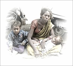 When a Picture Speaks a Thousand Words. (Mary Faith.) Tags: family varanasi poverty sad poor destitute beggar woman