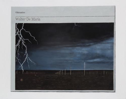 Hugh Mendes 'Obituary: Walter De Maria', 2016 Oil on linen 35x45cm
