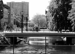 Malmö Summer (brandsvig) Tags: morescobron malmö bw summer kanalen bridge skåne sweden sverige 2012 may sommar bro kronprinsen highrise skyscraper regementsgatan street