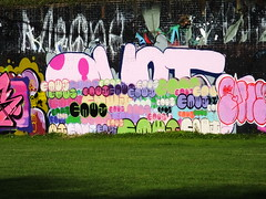 Street art and graffiti, Sevenoaks Park (DJLeekee) Tags: streetart graffiti sevenoaks park cardiff enta amok ewmj pyklops unity