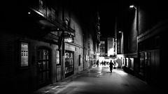 A man walking at night - London, England - Black and white street photography (Giuseppe Milo (www.pixael.com)) Tags: england print street city contrast soho uk photography black wallart geotagged white photo canvas prints european streetphotography faceless man urban london candid figure unitedkingdom monochrome bw blackandwhite horizontal europe fineart photograph gb onsale