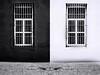 Almost Blue (Novowyr (Slow)) Tags: cienfuegos cuba kuba mirrored blackwhite windows barred bars contradiction neighbors splash paintsplatter colordash minimal contrasts dismissive dismissed security loneliness alone diptych