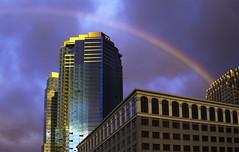 Jersey City (prashantaggarwal) Tags: nj ny nyc newport pavonia skyline buildings husonriver jerseycity rainbow sunrise water
