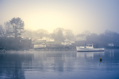 Very gloomy day in our little harbor town... (jm atkinson) Tags: purple newharbor maine fishing village lobster boat