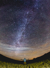 The World Is Mine (ToMpI97) Tags: milkyway milky way stars night sky universe galaxy spiral planets light pollution man dude fisheye country field