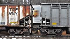 Pittsburgh Line: Coal Meets UPS (Images by A.J.) Tags: train railroad railway rail ups transportation freight car hopper gon gondola coal pan blur motion artistic speed topgon
