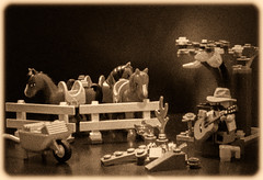 Week 1. The times they are a changin... (Suggsys Girl) Tags: 52weekproject nikon coolpix a10 lego minifigure cowboy western campfire horses sepia grain week12017 52weeksthe2017edition weekstartingsundayjanuary12017 week1theme