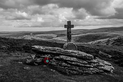 REMEMBRANCE (Robgreen13) Tags: uk bw nature canon landscape eos mono countryside cross cloudy devon poppy granite remembrance tor dartmoor isolated sharptor dartmeet 650d cavepennycross iplymouth yahoo:yourpictures=landscape cordontor