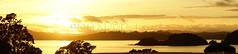Waitangi Dawn Panorama (C & R Driver-Burgess) Tags: ocean morning trees sea panorama mountains reflection beach silhouette clouds boats dawn harbour hills yachts waitangi grounds moorings treaty paihia ngapuhi