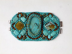 Persian Jewels Bracelet (floyfreestyle) Tags: beads jasper handmade turquoise jewelry bracelet wrist tigereye beadembroidery