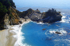 "McWay Falls and a bluegreen bay below • <a style=""font-size:0.8em;"" href=""http://www.flickr.com/photos/34843984@N07/15360025228/"" target=""_blank"">View on Flickr</a>"