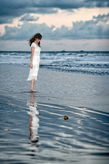Beach reflection (Ed Rosack) Tags: ocean portrait people woman usa reflection beach water female model surf florida shore cocoa cocoabeach centralflorida peoplepho