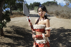 Nidalee - League of Legends (V Threepio) Tags: costume model photoshoot cosplay jungle warrior spear leagueoflegends nidalee bestialhuntress