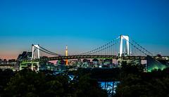 Rainbow Bridge and the Tokyo Tower at Dusk (David O'Hare) Tags: bridge sunset tower japan skyline tokyo rainbow nikon dusk odaiba d90