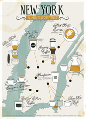 New York in Nine Coffees (teenyloogies) Tags: new york nyc newyork coffee cafe map joe espresso counterculture bluebottle stumptown siphon everyman gregorys budin boxkite aeropress illustratedmap